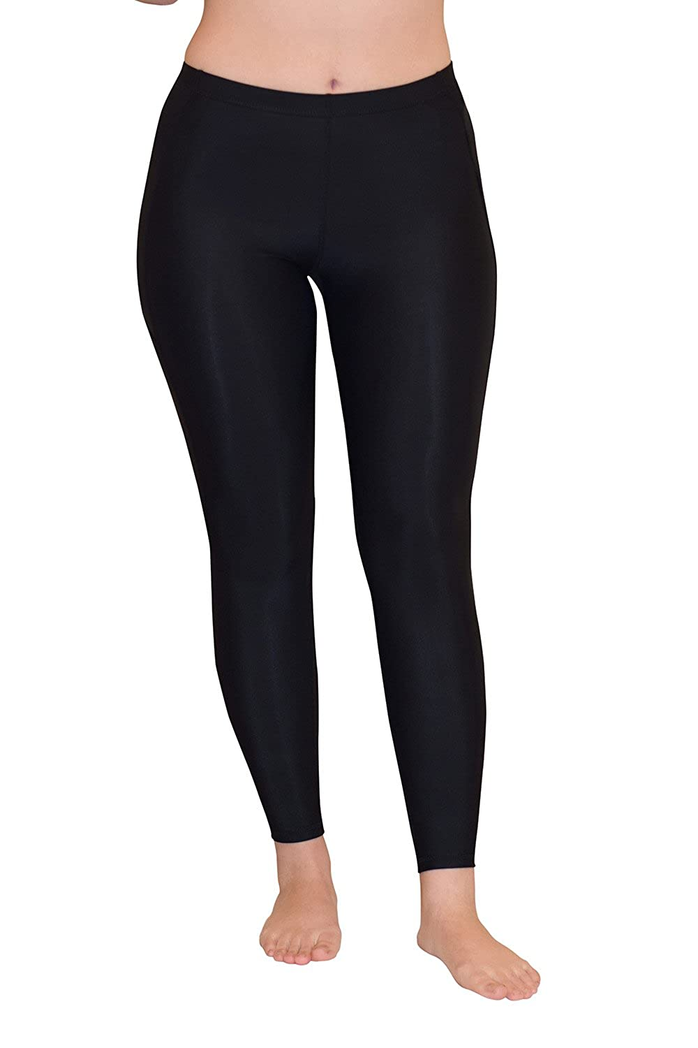 Women Stretch Tights Leggings Swim Gym UV Protective UPF50+ Black S502-N