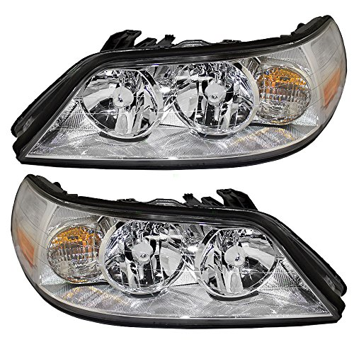 (Halogen Headlights for 2005-2011 Lincoln Town Car Driver and Passenger Sides Pair Headlamps Replace 6W1Z13008AB 6W1Z13008AA 6W1Z 13008 AB 6W1Z 13008 AA)