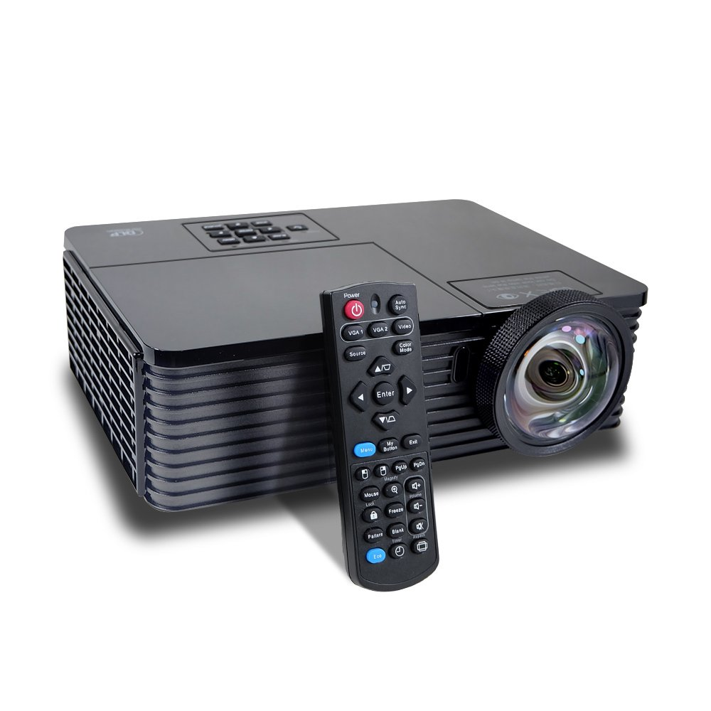 Short Throw HD Projector Home Theater 3D DLP 3000 ANSI Lumens Outdoor Office Presentation Meeting Projector with High Definition