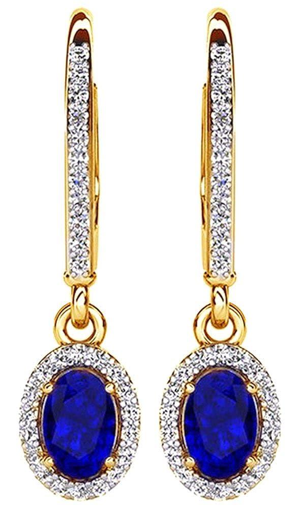 Ohrringe Weißszlig;Gold 14 Karat (585) massiver Saphir mit natürlichem Diamant (0,92 Karat) 14 Karat (585) GelbGold