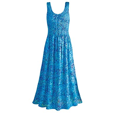 Women's Blue Caribbean Sleeveless Maxi Sun Dress - Hand Batik ...