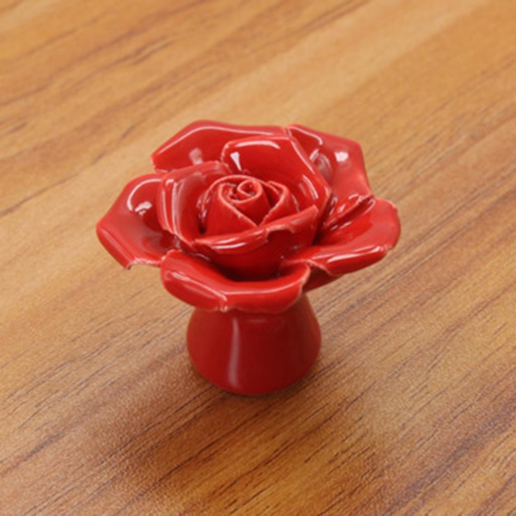 Hearsbeauty ceramica rose Flower Fashion manopole cassetto armadio porta maniglia in porcellana Pink