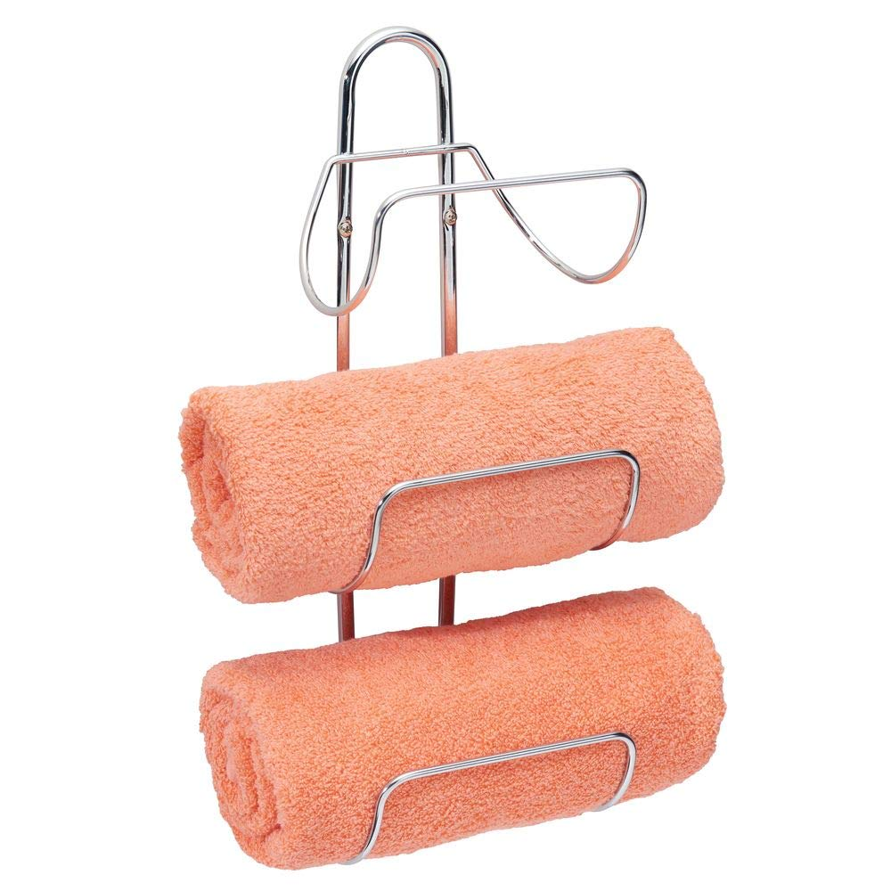 mDesign Modern Decorative Metal 3-Level Wall Mount Towel Rack Holder and Organizer for Storage of Bathroom Towels, Washcloths, Hand Towels - Chrome