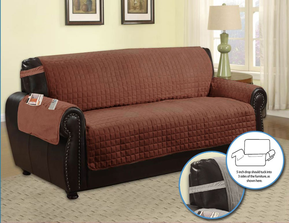 Amazon.com: Quilted Microfiber Pet Dog Couch Furniture Protector With Side  Pocket, Tucks U0026 Strap (Sofa, Camel): Home U0026 Kitchen