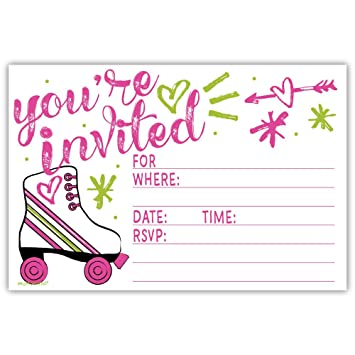 Roller Skate Party Invitations 20 Count With Envelopes