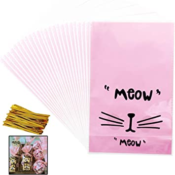 Hello Kitty Party Bags Self Adhesive Pink Cookie Sweets Favour X20 Cello Bags