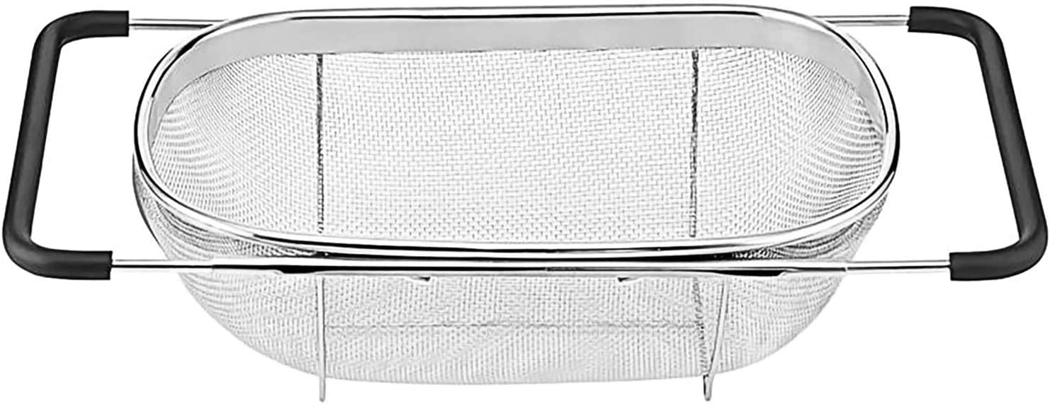 Over The Sink Stainless Steel Oval Colander with Expandable Rubber Grip Handles Strainers, Fine Mesh Strainer Basket Kitchen 6 Quart Colander for Strain, Drain, Rinse Fruits, Vegetables