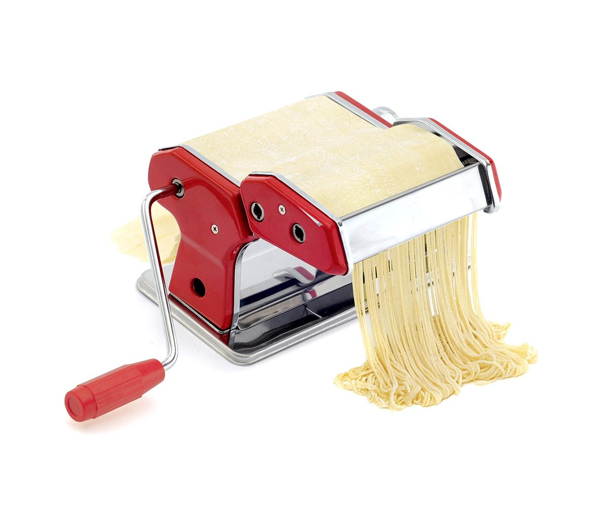 Mozlly Multipack - Norpro Red Pasta Machine - 5 x 8 x 5 inch - Includes Countertop Clamp, Recipes and Instructions - Chrome Plated Steel - Kitchen Gadgets (Pack of 3)