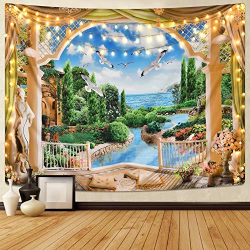 Sevenstars Luxury Home Castle Tapestry 3D Nature Landscape Tapestry for Room, Plant Garden Tapestry from Sevenstars