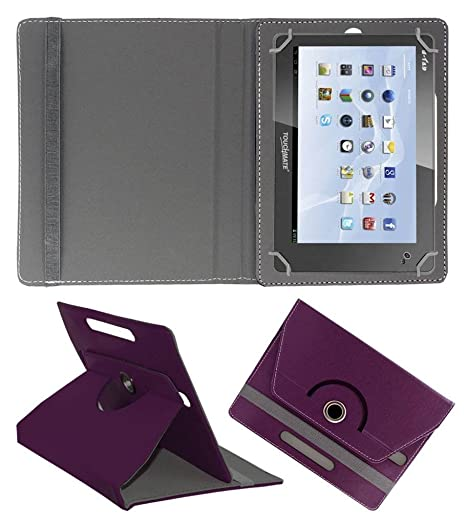 Acm Rotating Leather Flip Case for Touchmate 7 Cover Stand Purple Touch Screen Tablet Bags   Cases
