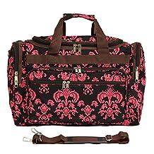 World Traveler 19 Inch Duffle Bag, Brown Pink Damask, One Size