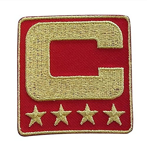 Red Captain C Patch (All Gold) Sewing On for Jersey Football, Baseball, - Red Embroidered Football Jersey