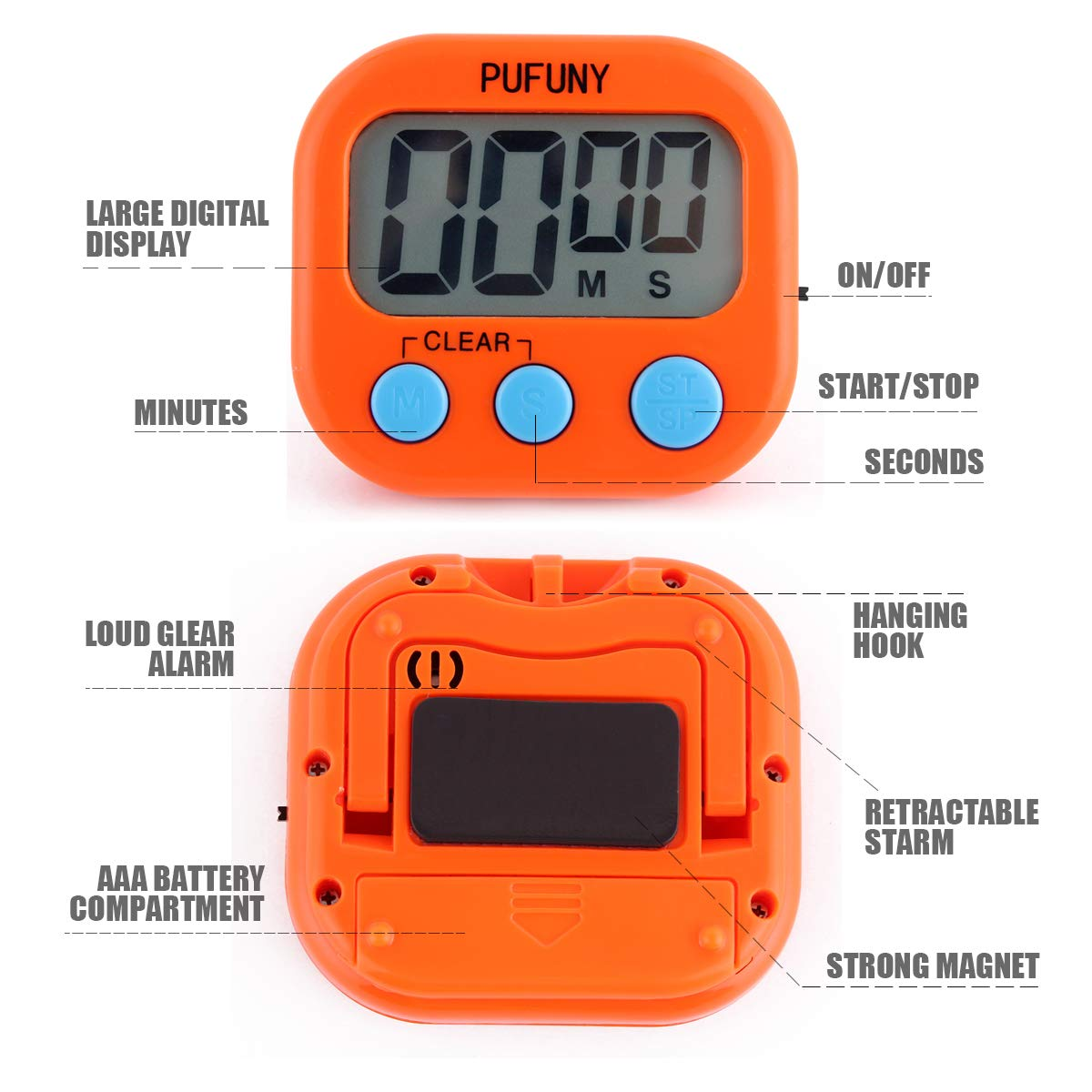 Pink and Orange PUFUNY Digital Kitchen Timer,Cooking Timer,Large Display,Strong Magnet Back,Loud Alarm,Stand,for Cooking Baking Sports Games Office,User Guide Included,2 Pack