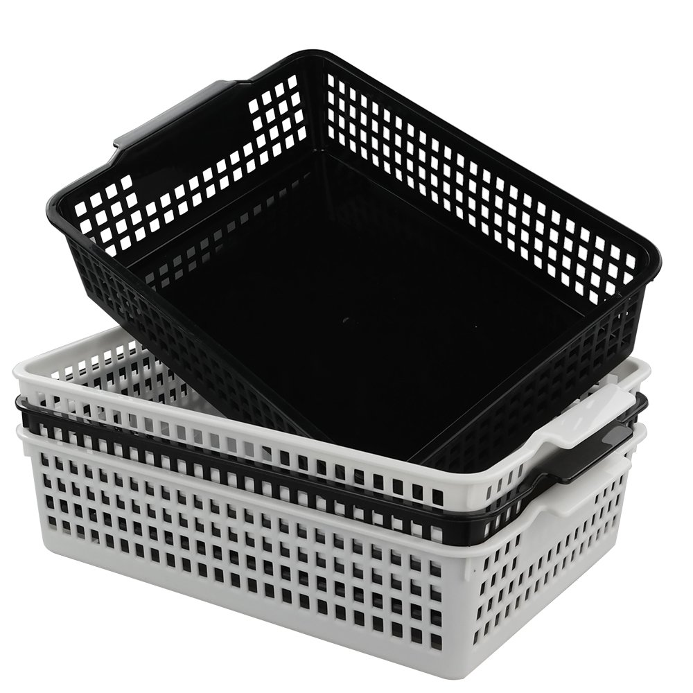 Idomy Paper Storage Basket, Plastic File Holder Bins for Office, Set of 4 by Idomy (Image #1)