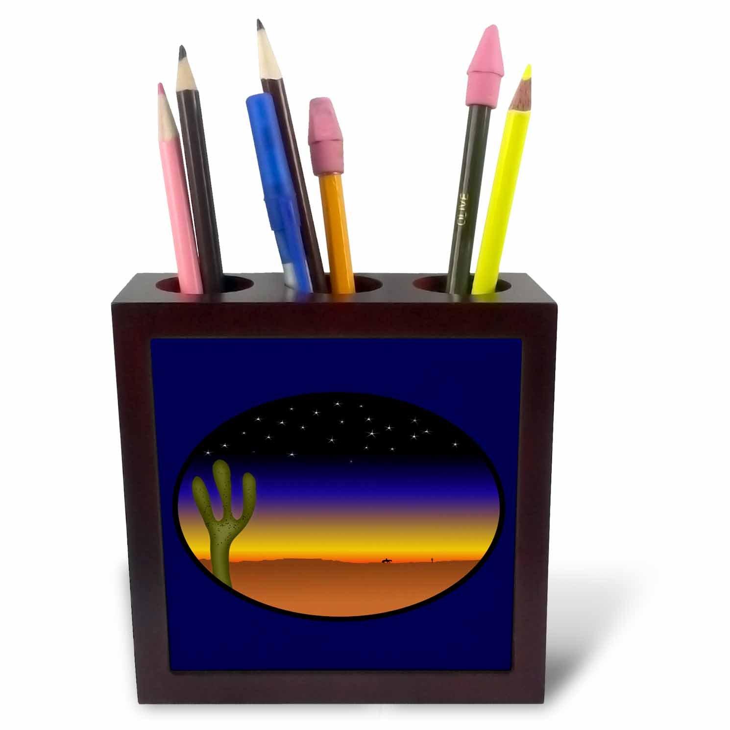 3dRose ph/_38917/_1 Oval Desert Scene on Navy Blue Tile Pen Holder 5-Inch