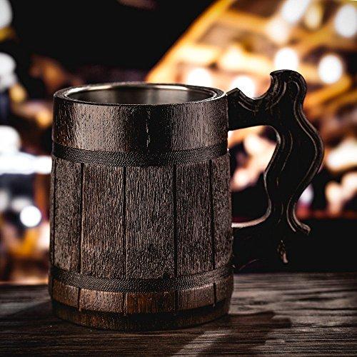 Beer Mug/Wooden Beer Mug/Tankard / Wood Mug By WoodenGifts - 0.6 Litres Or 20oz Wooden Mug - Wooden Coffee Mug with Stainless Steel Cup Inside by WoodenGifts (Image #4)
