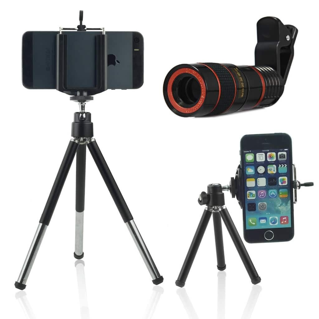 ONX3 (Black + Tripod Holder) Universal Clip-on 8x Zoom Optical Telescope Manual Focus Phone Camera Lens and 360 Rotatable Mini Tripod Stand Holder for Acer Iconia One 7 (B1-770)