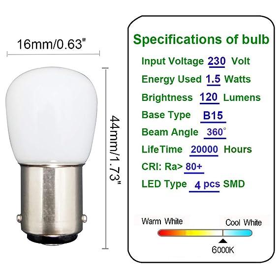 ... LED B15 1.5W en Lugar de 15W 6000K Lámpara Halógena Blanca 120lm Temperatura Baja No Ajustable Para Refrigerador / Máquina de Coser: Amazon.es: Hogar