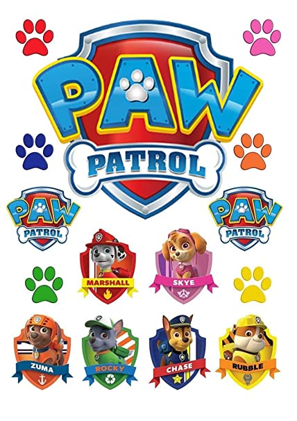 PAW PATROL BADGES WAFER CARD PRINTED CUPCAKE TOPPERS DECORATION SET