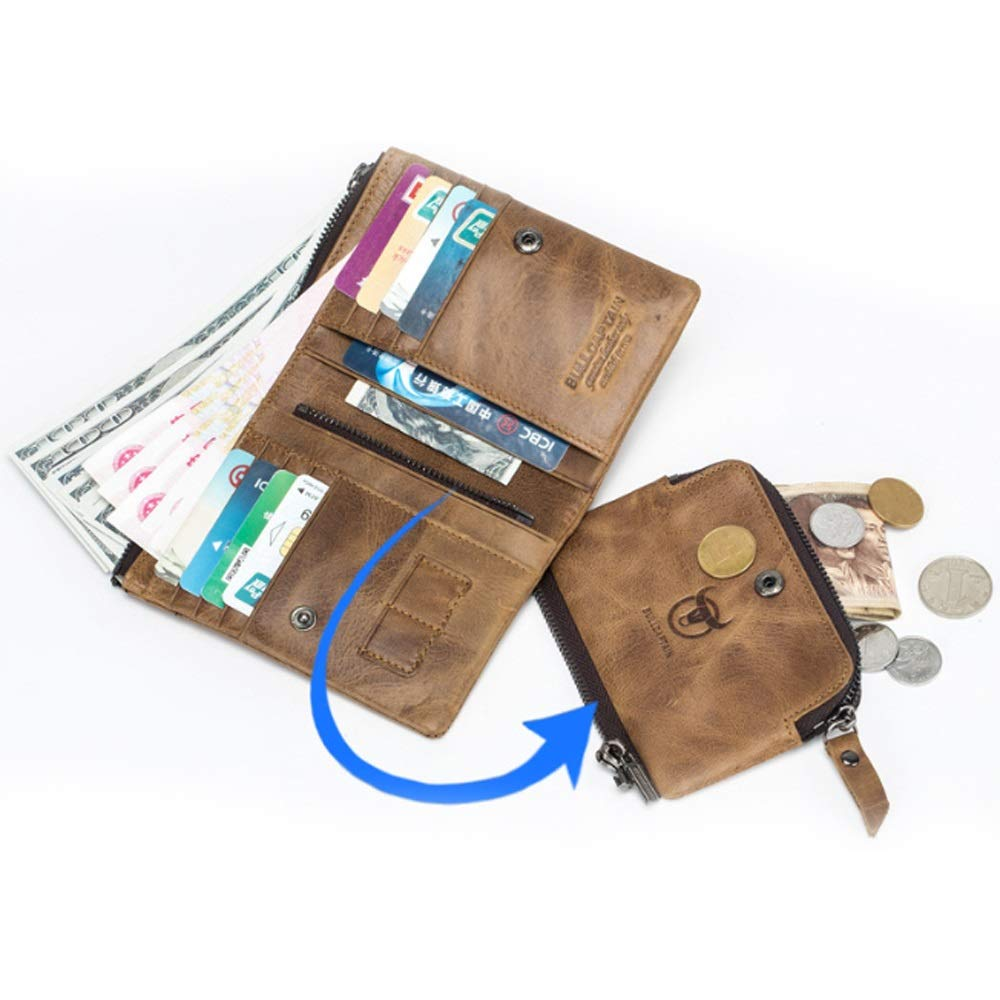 Color : Brass, Size : S Mens Business Purse Mens Wallet Leather Retro First Layer Multi-Card Split Leather Wallet Purse Card Holder Portable Wallet for Men Gifts