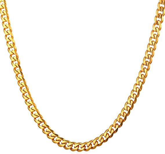 U7 Men Vintage Miami Cuban Chain Necklace Stainless Steel or 18K Gold Plated NK Curb Links