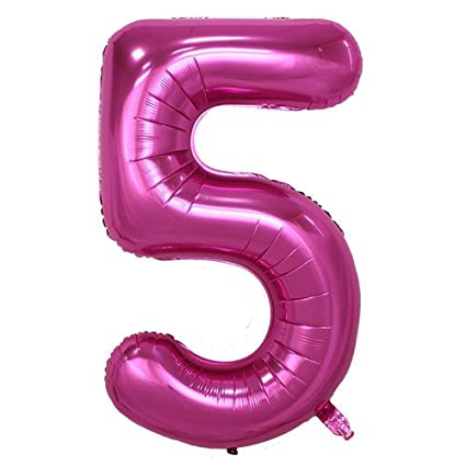 LANGXUN 40inch Pink Foil Number 5 Balloons For Birthday Party Supplies And Decorations