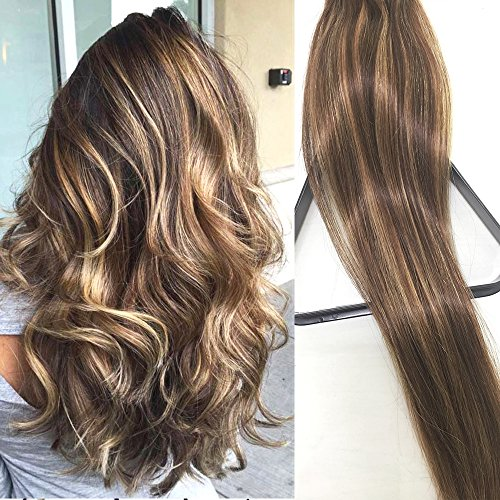 Myfashionhair Clip in Hair Extensions Real Human Hair Extensions 22 inches 70g Brown with Blonde highlights Clip on for Fine Hair Full Head 7 pieces Silky Straight Weft Remy Hair (22 inches, #4-27)