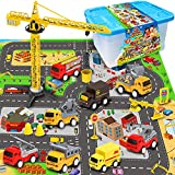 Exercise N Play Mini Fire Fighting Truck Transport Delivery Truck Construction Vehicle Play Set with a Kid Play Car City Map (28