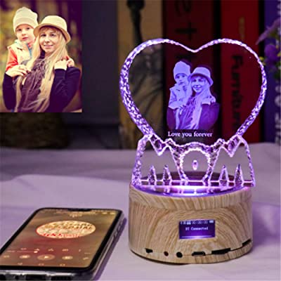 Personalized Customized 3D Crystal Glass Photo Picture Etched Engraved with Your Own Picture,Bluetooth - Colorful music lights Birthday, Wedding Gift, Mother's Day,Father's Day,Valentine's,Christmas: Home & Kitchen