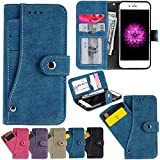 iPhone 6S Case, iPhone 6 Wallet Case, Firefish Folio Flip Leather Cover with Cash and Credit Card slots Cash Compartment for Apple iPhone 6/6S -Blue