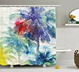 Palm Tree Decor Shower Curtain by Ambesonne, Retro Watercolor Silhouettes of Palm Trees Stains on Picture Tropical Paradise Theme, Fabric Bathroom Decor Set with Hooks, 70 Inches,