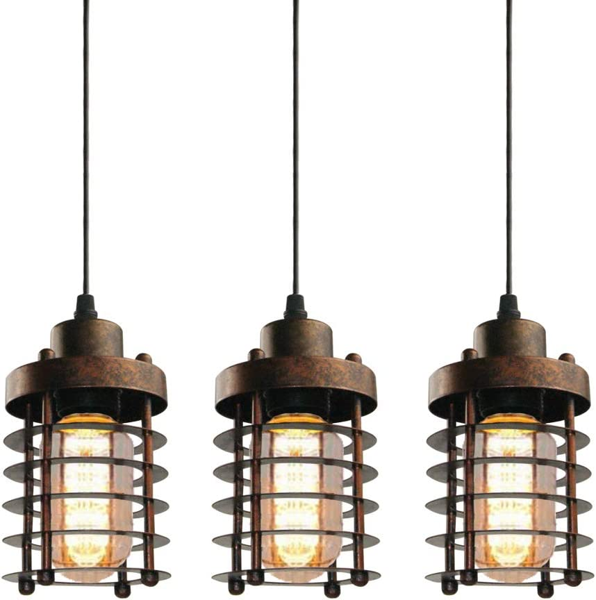 WINSOON 3 Pack Pendant Light Fixture Mini Rustic Metal Cage Hanging Lighting Bronze, 3Pack
