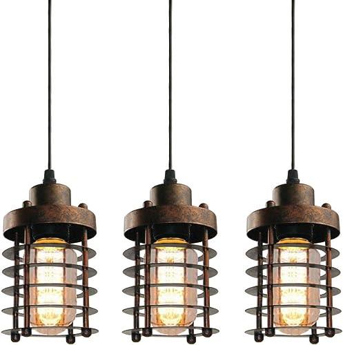 WINSOON 3 Pack Pendant Light Fixture Mini Rustic Metal Cage Hanging Lighting Bronze, 3Pack