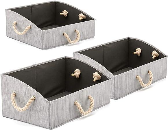 EZOWare 3 pcs Cajas de Almacenaje, Caja Abierta con Angulo de Tela Plegable Resistente con Manijas para Estanterías, Armarios, Ropa, Camisetas, Juguetes, y mas (Bambú Gris): Amazon.es: Hogar