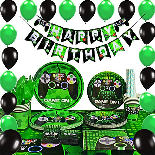 Kids Birthday Party Decoration - WERNNSAI Video Game Party Supplies - Gaming Party Decoration Boys Birthday Party Favors Cutlery Bag Table Cover Plates Cups Napkins Straws Utensils Birthday Banner & Balloons Serves 16 Guests 169 PCS