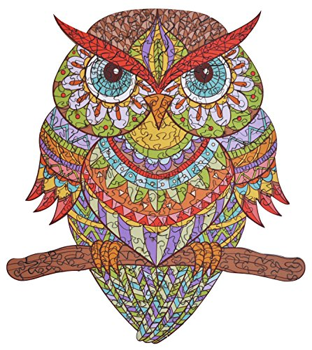 Wooden Jigsaw Puzzles - Colorful Owl Hartmaze HM-04 Small Bird Puzzle 206 Unique Shape Jigsaw Pieces-Beautiful Animal for Adults and 14 Years Age up Teens- Best for Family Game Play Collection.