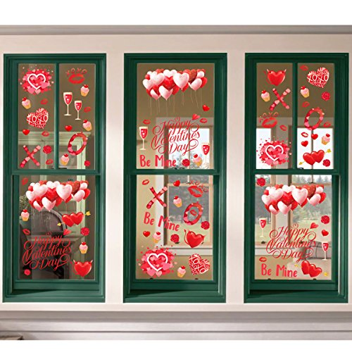 Ivenf 4ft x 4ft Extra Large Heart Valentine's Day Window Clings Decorations, Kids School Home Office Valentines Hearts Accessories Birthday Party Supplies Gifts, Red Set