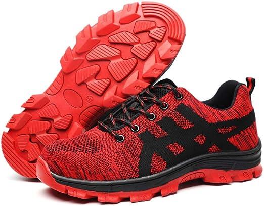Zapatos De Seguridad Hombre con Puntera De Acero Zapatillas De Seguridad Trabajo S1P,Red-49: Amazon.es: Hogar