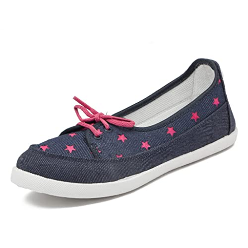 aebe490f9905f Asian Shoes Women s Navy Blue Pink Canvas Casual Shoes - 9Uk Indian ...