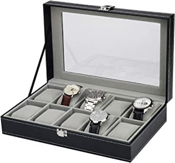 Selva - Caja para 10 Relojes (Piel, 308 x 195 x 77 mm): Amazon.es ...