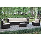 VIVA HOME Outdoor And Indoor Garden Patio Sofa Set 7PCS Reconfigurable Stylish And Modern Style With Seat Cushion And Back Pillow