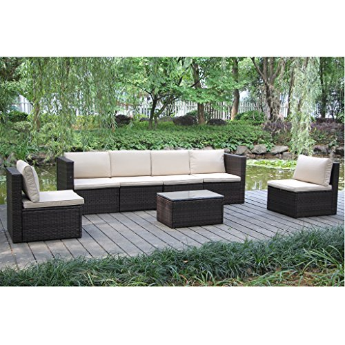 VIVA HOME Outdoor And Indoor Garden Patio Sofa Set 7PCS Reconfigurable Stylish And Modern Style With Seat Cushion And Back Pillow (Sofa Style Set)
