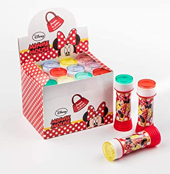 SUPERBOOM - Caja Pomperos de Burbujas de Jabón de Minnie - 12 Unidades de 60 ml