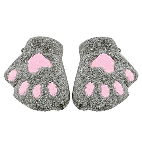 Sin dedos guantes hirolan para ropa infantil invierno guantes gato garras Cordero Manoplas Peluche dedos guantes