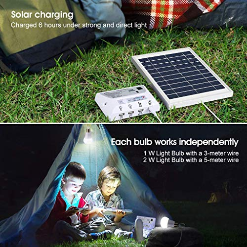 Solar Panel System Lights Kit, Upgraded Portable Home Solar Lights Outdoor Solar Powered Charger with Switch Controller, 2 LED Bulbs, 3 USB Ports for Indoor Outdoor Camping Garage Emergency by WaHe (Image #3)