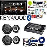 Kenwood double Din 6.2 Touchscreen Car DVD CD Stereo Compact Powered Enclosed Subwoofer 6.5 6-1/2 in 2-Way Flush Mount Car Speaker 4 Gauge AMP Kit