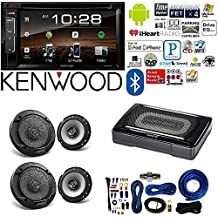 """Kenwood double Din 6.2"""" Touchscreen Car DVD CD Stereo Compact Powered Enclosed Subwoofer 6.5"""" 6-1/2 in 2-Way Flush Mount Car Speaker 4 Gauge AMP Kit"""