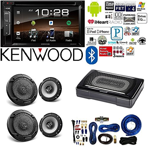 "Kenwood double Din 6.2"" Touchscreen Car DVD CD Stereo Compact Powered Enclosed Subwoofer 6.5"" 6-1/2 in 2-Way Flush Mount Car Speaker 4 Gauge AMP Kit"
