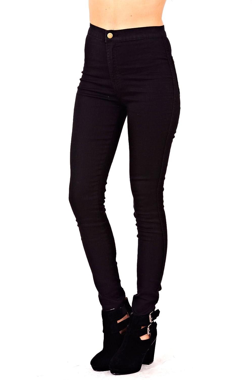 New Womens Ladies Skinny Slim Fit High Waisted Stretch Denim Black Jeans Trouser - Black - UK 12 - (70% Cotton 28% Polyester 2% Elastane)