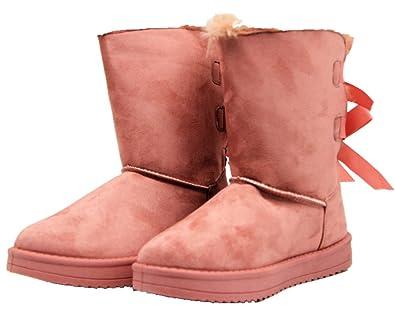 67ec5c6698b73 Super Me® Damen Zierperlen Stiefel Stiefeletten Warm Gefüttert Pink (36)